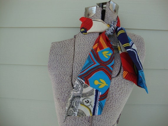 Vintage 1960s Scarf Neck Hair Tie 60s Paisley