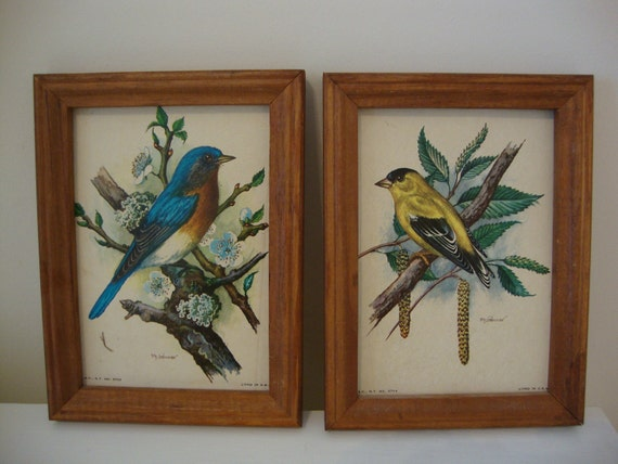 Vintage Ph Gonner Lithographs Goldfinch and Bluebird Framed Prints