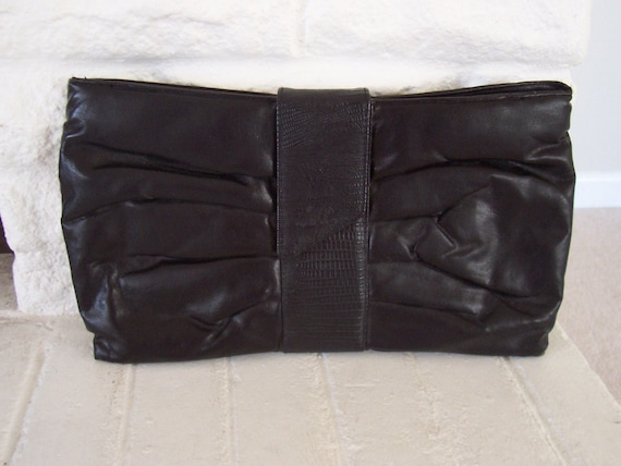 1980s Oversized Black Clutch Purse vintage