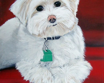 8 x 10 Detailed Custom Pet Portrait Pet Painting from Your Photo Dog Cat Horse Art by Sharon Lamb
