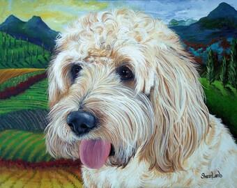 11x14 Custom Pet Portrait Pet painting Hand Painted any Animal Dog Cat or Horse Pet Portrait