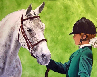 Custom Pet Painting 9 x 12 2 subject Horse & Rider Show Jumper Horse Race Western Dressage