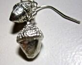 Pewter Acorn Earrings    pierced earrings  tateam