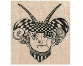 rubber  stamp Steampunk supplies circus  woman jester horns stamp whimsical   stampings by Mary Vogel Lozinak  tateam EUC team  18509
