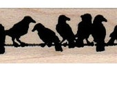 PriCE REDUCED FOR HOLIDAYS! Halloween rubber stamp Birds on a wire stamping supplies stamp number 13039