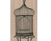Victorian Birds  Cage  stamp  wood Mounted   rubber stamp    stamp number 17131