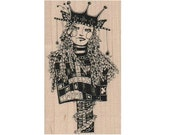 Flower seed girl garden angel whimsical  Rubber Stamp by Mary Vogel Lozinak  no 18506