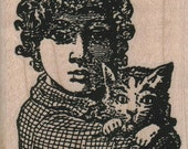 Rubber stamp  Girl with cat unMounted  scrapbooking supplies number 10204
