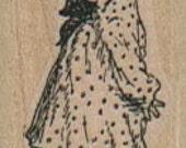 Rubber stamp  Baby girl polka dot dress   unMounted  scrapbooking supplies 14082