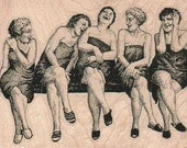 Friends laughing  rubber  stamp  five ladies laughing at the spa 18537 woman sauna