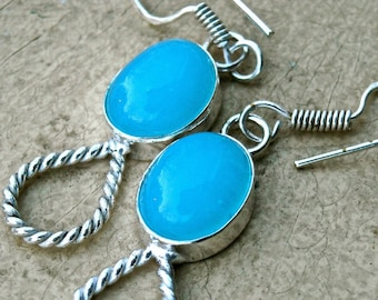 blue chalcedony and sterling silver earrings pierced  measures  1 3/4 inches