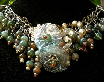 MOSS AGATE and chandelier flowers bracelet or necklace turquoise and vintage rhinestones