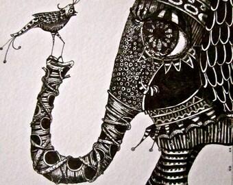 Illustration elephant and bird Art Prints by Mary Vogel Lozinak      srajd zentangle ganesh 10x14 tateam EUC team