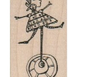 unicycle lady  whimsical  Rubber Stamp by Mary Vogel Lozinak  tateam EUC team