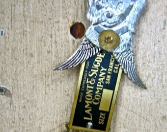 Steampunk dog brooch vintage assemblage jewelry guardian angel