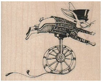 Easter Rabbit on unicycle  rubber stamp stamps stamping Alice steampunk style designer Mary Vogel Lozinak  18377