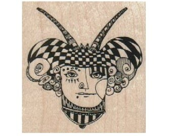 wood  stamp Steampunk supplies woman jester horns stamp whimsical  Rubber Stamp by Mary Vogel Lozinak  tateam EUC team  18509