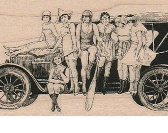 Vintage ladies on a car rubber stamp  UnMounted   rubber stamp      number 18400