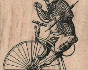 alice in Wonderland rubber stamp rabbit on Victorian bicycle,  white rabbits bike unicycle  rubber stamp stamp number 18423