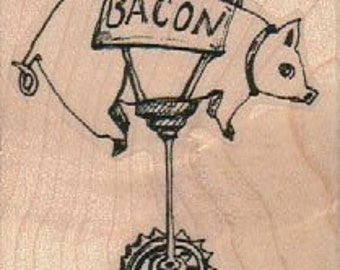 Pig on Wheels BAcon Steampunk Rubber Stamp wood mounted designed by Mary Vogel Lozinak no 18550