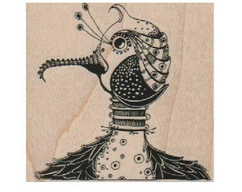 Rubber Stamp Steampunk bird Stamp whimsical  by Mary Vogel Lozinak  18504 wood mounted, unmounted or cling stamp