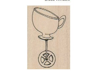 Tea cup with wheels tea party  Steampunk Rubber Stamp wood mounted designed by Mary Vogel Lozinak no 18554