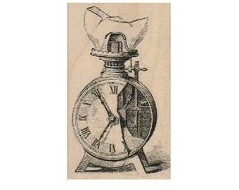 Old broken clock  stamp wood Mounted   rubber stamp    stamp number 18458