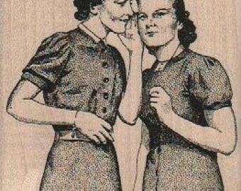 Rubber stamps Woman gossiping secrets  rubber stamp  number 18563