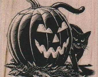 Rubber stamp  Halloween Jack O Lantern  Cat  Pumpkin scrapbooking supplies number 8964