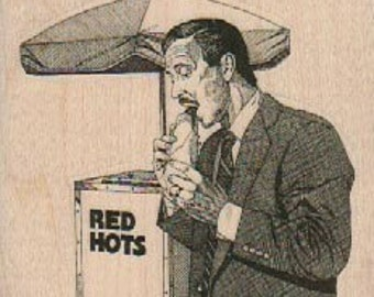 Rubber stamp  Man hot dog stand retro  wood Mounted  scrapbooking supplies 925