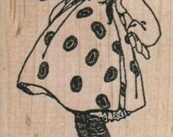 Rubber stamp  Baby girl polka dot dress   wood Mounted  scrapbooking supplies 11135