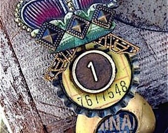 Steampunk jewelry brooch Queen for the day award   here is your badge you deserve it brooch zne