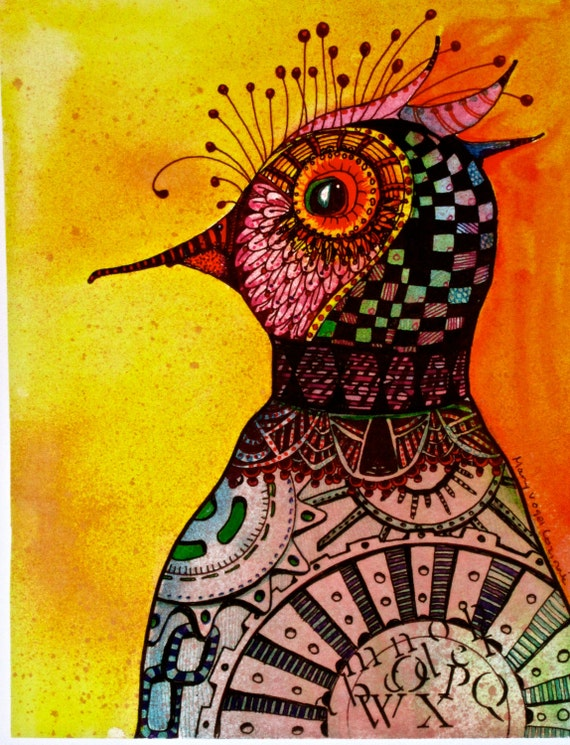 Bird Chicken Art Print copy watercolor   zentangle tateam EUC team