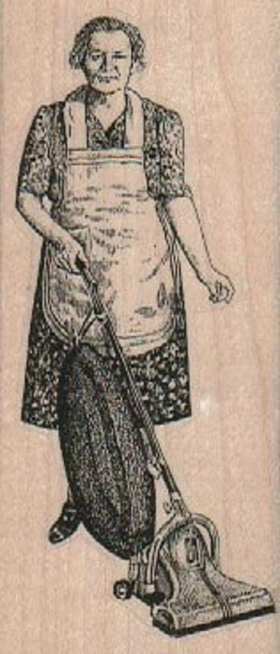 Retro Woman vacuuming   stamp unMounted   rubber stamp    stamp number 18417