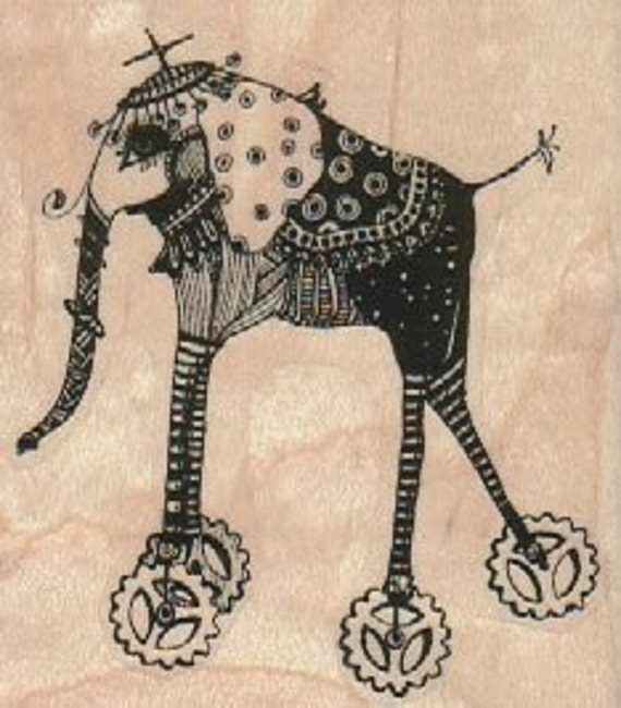 Elephant on wheels   Steampunk Rubber Stamp wood mounted designed by Mary Vogel Lozinak no 18547