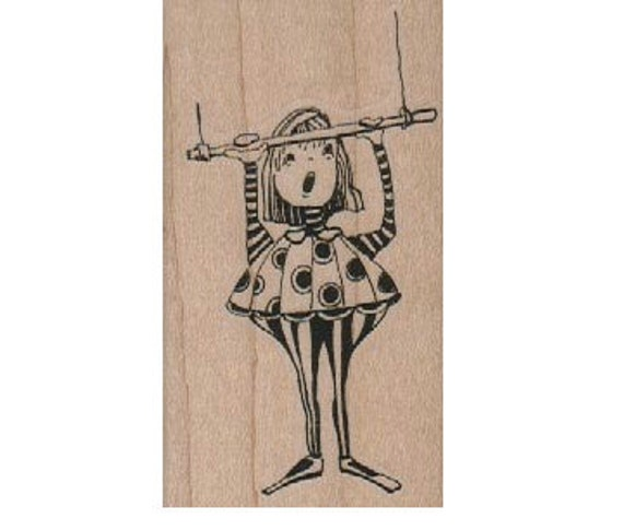 circus stamp girl on swing trapeze  rubber stamp Steampunk  Stamp whimsical  Rubber Stamp by Mary Vogel Lozinak  18512