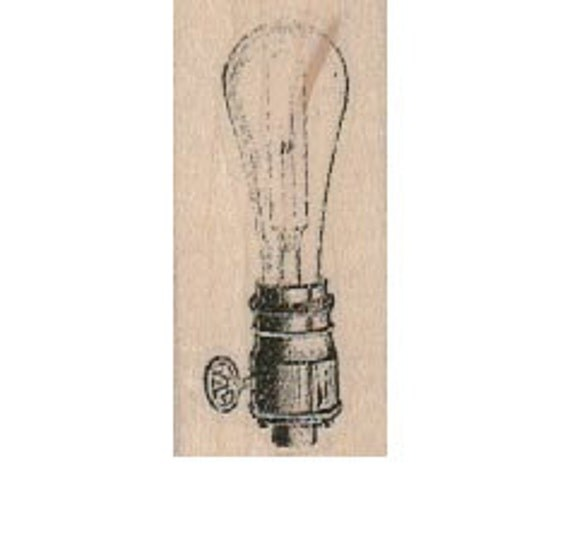 Steampunk supplies light bulb stamp wood Mounted   rubber stamp    stamp number 18356