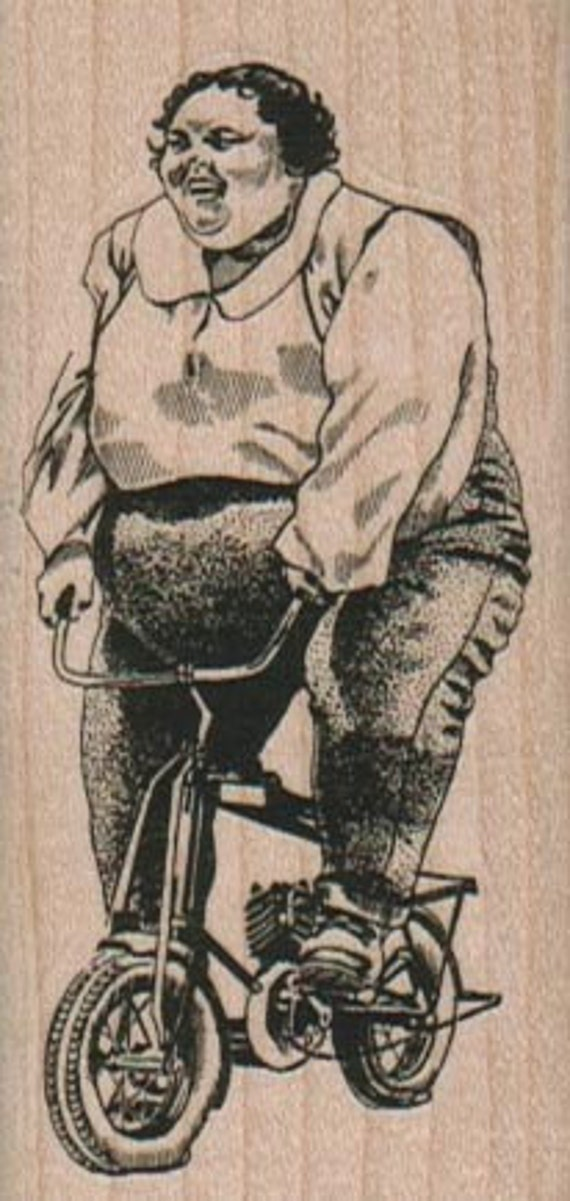 Rubber stamp woman on bicycle wood Mounted  scrapbooking supplies number 8877