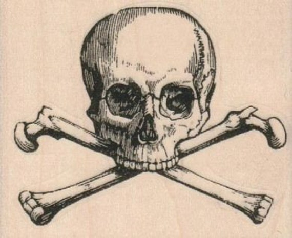 skull and cross bones pirate rubber stampo day of the dead