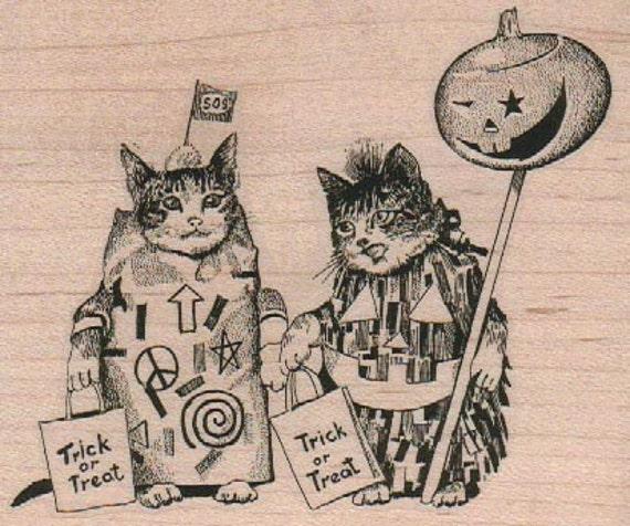 Rubber stamp Halloween cat costume  wood Mounted  scrapbooking supplies number 18296