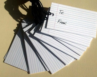 LINED NOTEPAPER MINI GIFT TAGS -  Etsy Shop Tags - Set of 12