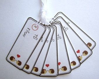 Hedgehogs in Love To and From Gift Tags - Set of 8 Prestrung Tags