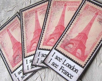 I See London, I See France Eiffel Tower Ephemera Paper Embellishments - Set of 4 -