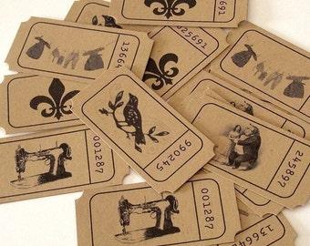 Vintage Image Kraft Tickets - Set of 15 - embellishments, ephemera, collage, scrapbooking