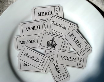Grey French Word Tickets - Set of 12