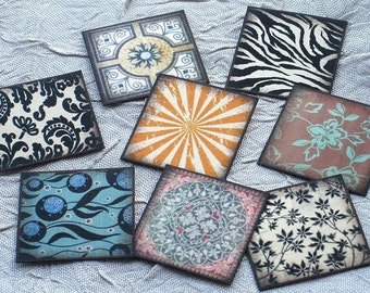 40 Assorted Circle and Square 1 inch embellishments - scrapbookings, pendants, collage, altered art, ATCs, ACEOs