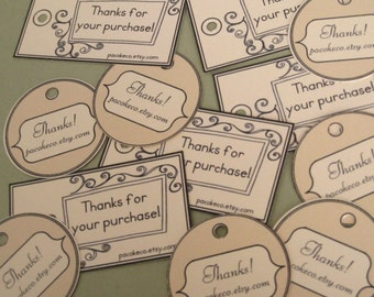 LITTLE BITS Customized Mini Etsy Shop Thank You Tags - 2 shapes - Set of 38