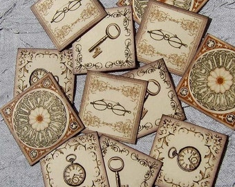 VINTAGE PAPER EMBELLISHMENTS - Set of 12- for scrapbooking, cardmaking, altered art, ATCs, ACEOs