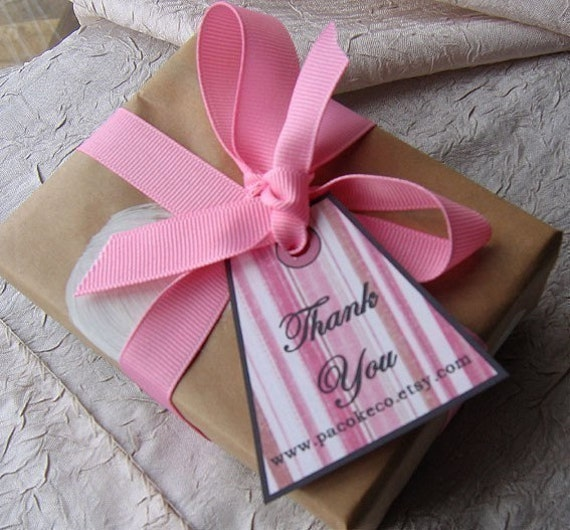 DIRTY PINK STRIPES CUSTOMIZED THANK YOU GIFT TAGS - SET OF 16 - perfect for your etsy shop too