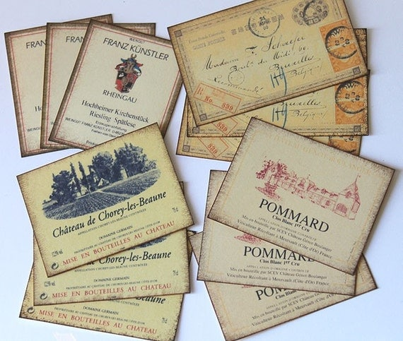 French and German Vintage Inspired Labels and Mini Postcards - Set of 12 - great for Embellishments, Tags, Scrapbooking, Cardmaking